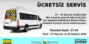 YKS için Ücretsiz Araç Hizmeti